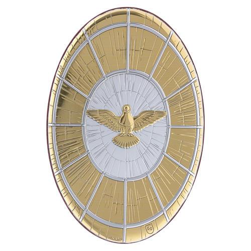 Quadro Colomba oro in bilaminato rotondo 15X10 cm 1