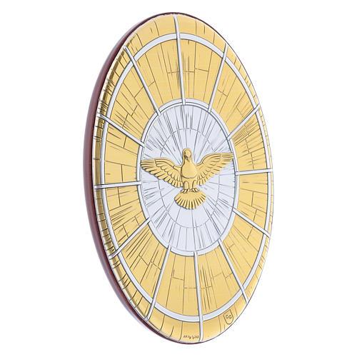 Quadro Colomba oro in bilaminato rotondo 15X10 cm 2