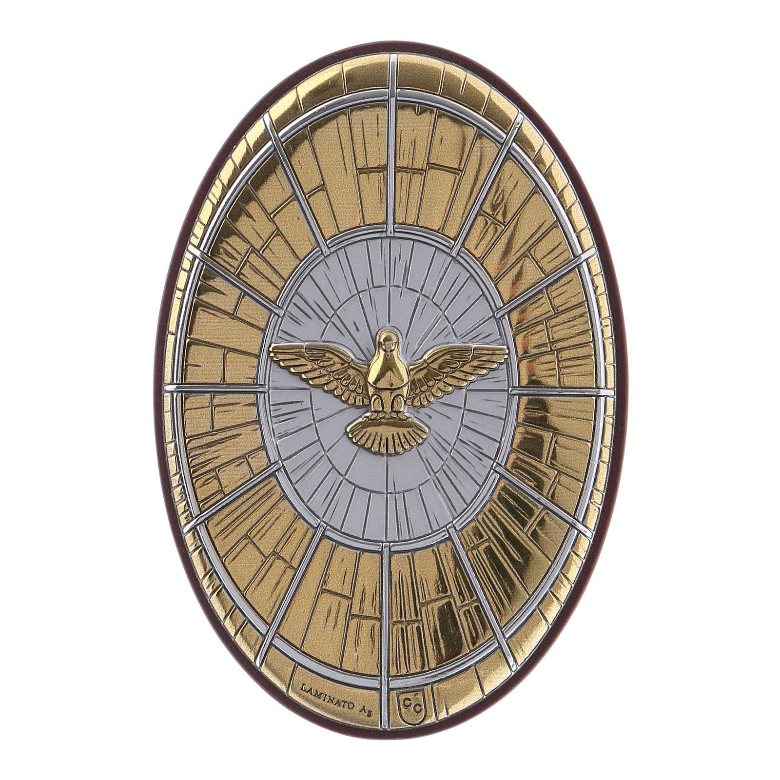 Quadro Colomba oro in bilaminato e legno pregiato 7,2X4,8 cm 4