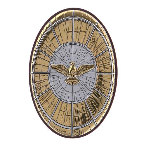 Quadro Colomba oro in bilaminato e legno pregiato 7,2X4,8 cm 1