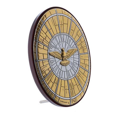 Quadro Colomba oro in bilaminato e legno pregiato 7,2X4,8 cm 2