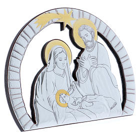 Holy Family painting in aluminium with refined wooden back 16,3X21,6 cm s2