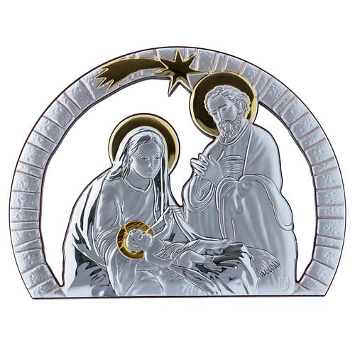 Holy Family painting in aluminium with refined wooden back 16,3X21,6 cm 1