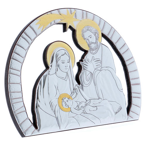 Holy Family painting in aluminium with refined wooden back 16,3X21,6 cm 2