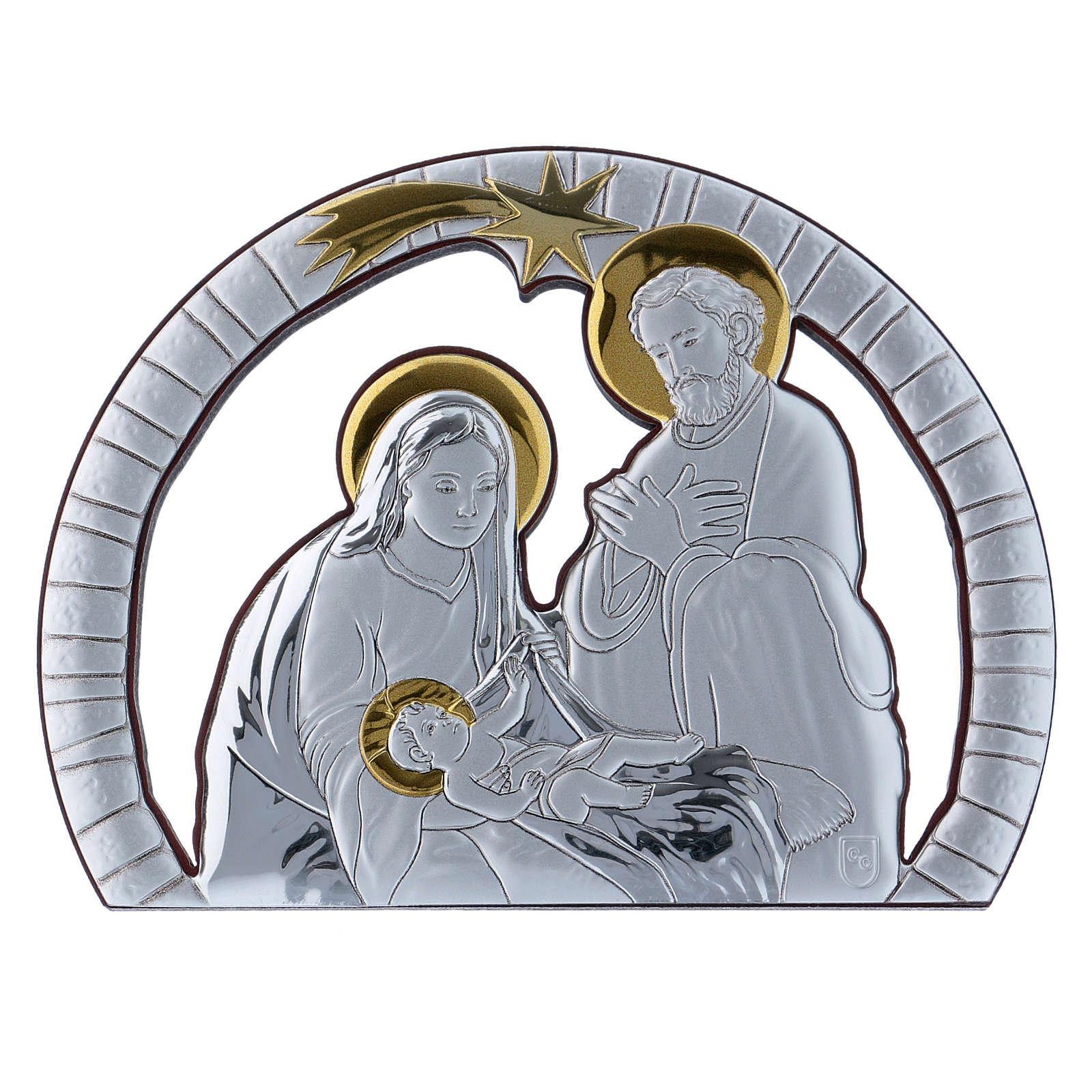 Quadro Sacra Famiglia in alluminio e legno pregiato 10X14 cm 4