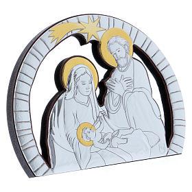 Quadro Sacra Famiglia in alluminio e legno pregiato 10X14 cm s2