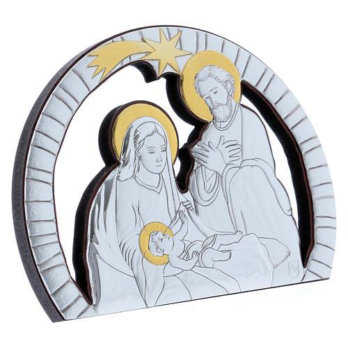 Quadro Sacra Famiglia in alluminio e legno pregiato 10X14 cm 2