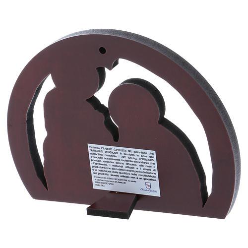Quadro Sacra Famiglia in alluminio e legno pregiato 10X14 cm 3