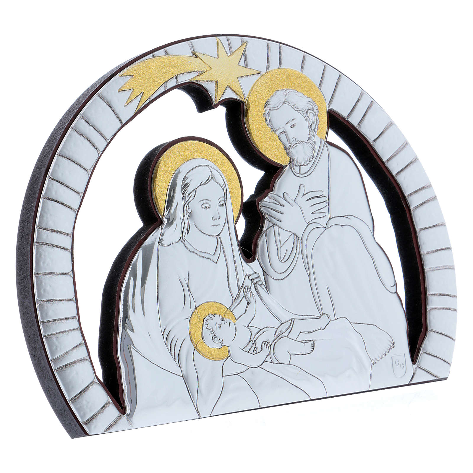 Holy Family painting in aluminium and refined wood 10X14 cm 4