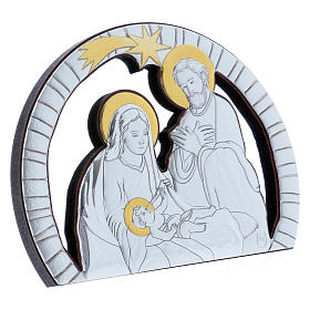 Holy Family painting in aluminium and refined wood 10X14 cm s2
