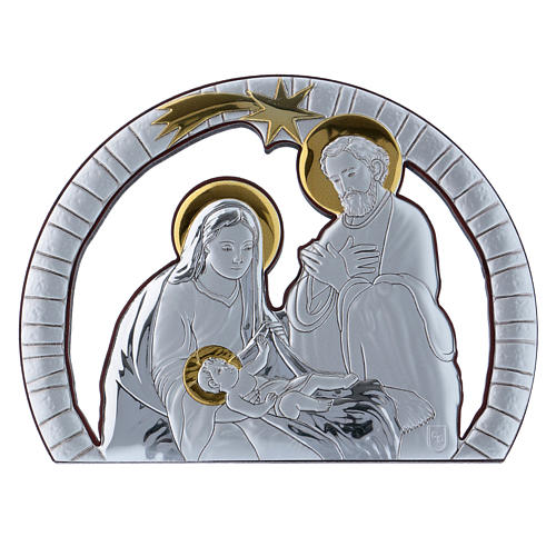 Holy Family painting in aluminium and refined wood 10X14 cm 1