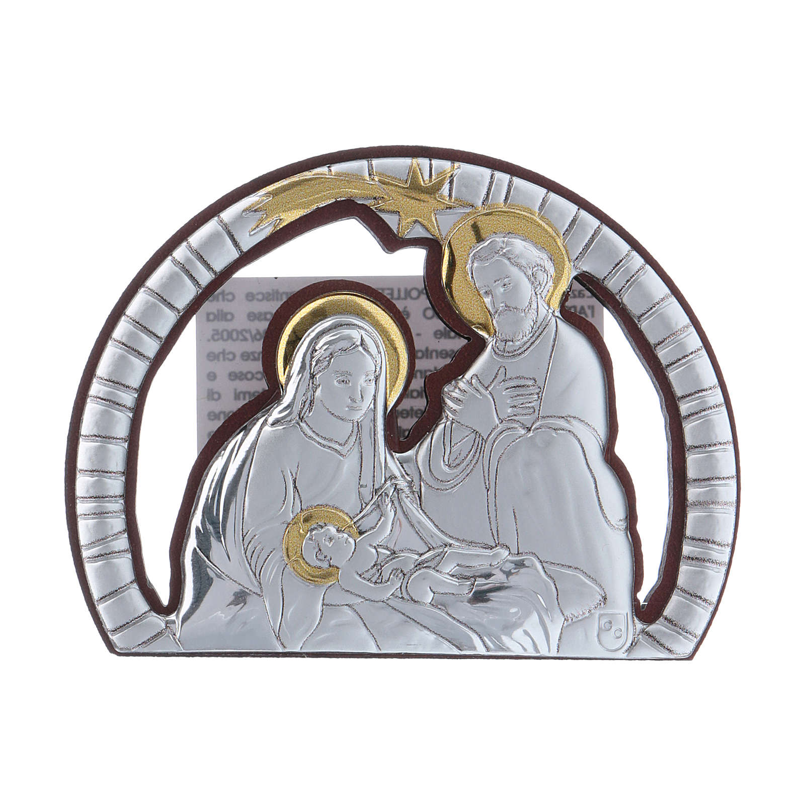 Holy Family painting in aluminium with refined wooden back 4,8X6,4 cm 4