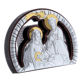 Holy Family painting in aluminium with refined wooden back 4,8X6,4 cm s2