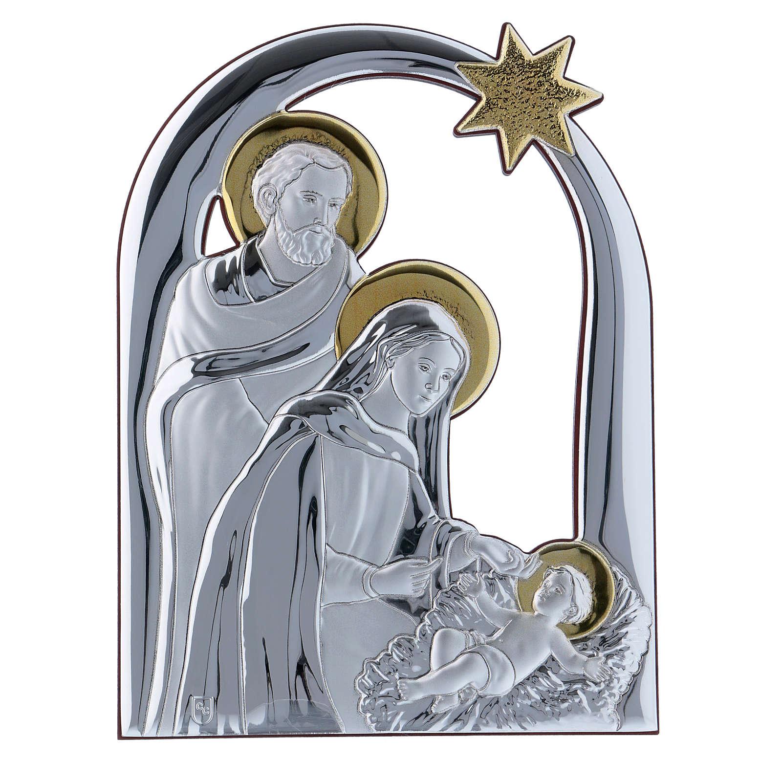 Quadro Natività con Stella Cometa in alluminio retro in legno 21,6X16,3 cm 4