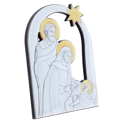 Holy Family and comet painting in aluminium with refined wooden back 21,6X16,3 cm 2