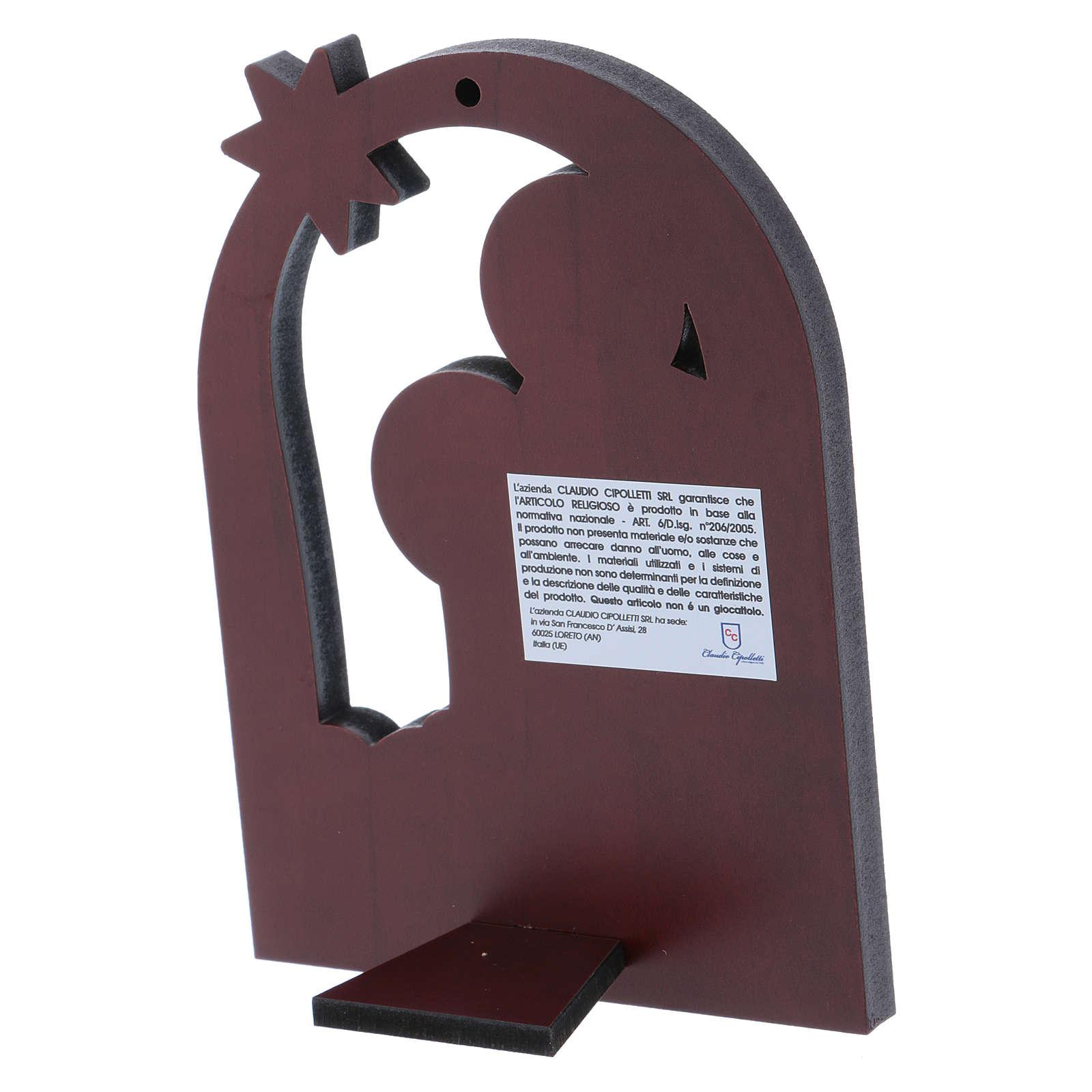 Quadro Natività con Stella Cometa in alluminio e legno 14X10 cm 4