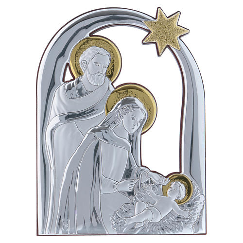 Holy Family and comet painting in aluminium and wood 14X10 cm 1