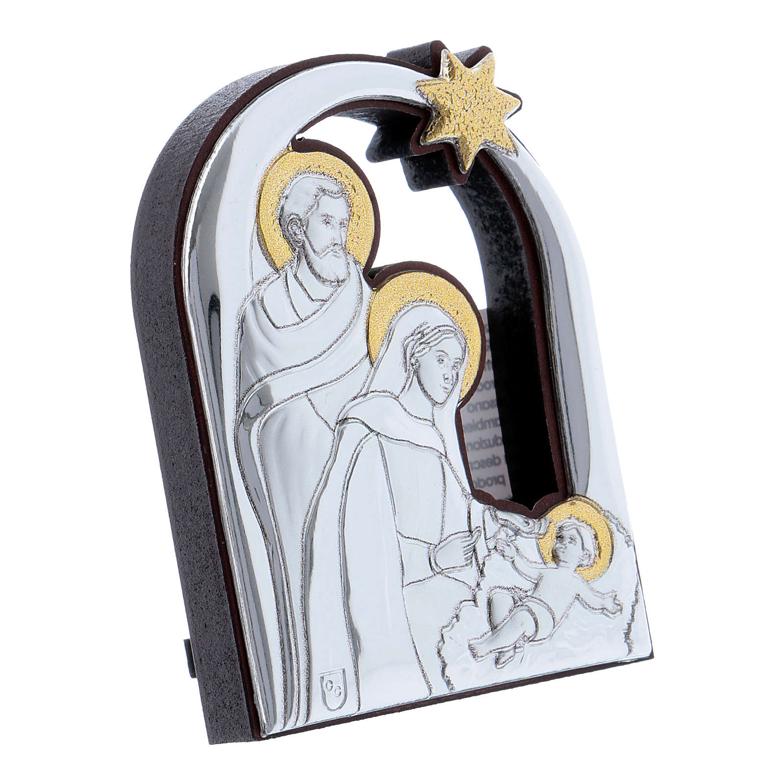 Holy Family and comet painting in aluminium 6,4X4,8 cm 4