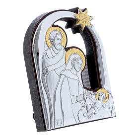 Holy Family and comet painting in aluminium 6,4X4,8 cm s2