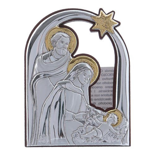 Holy Family and comet painting in aluminium 6,4X4,8 cm 1