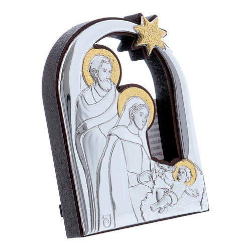 Holy Family and comet painting in aluminium 6,4X4,8 cm 2