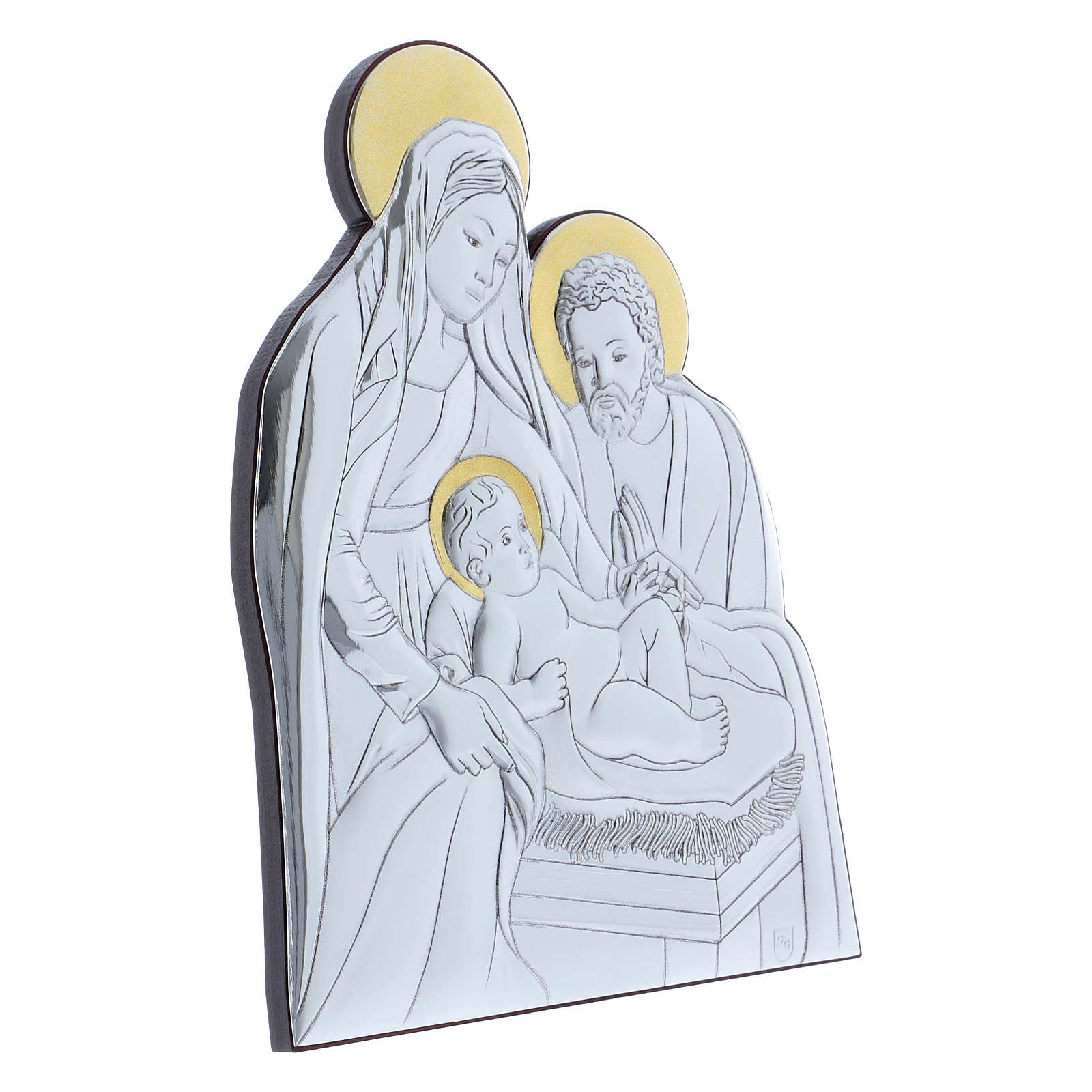 Holy Family painting in aluminium with wooden back 21,6X16,3 cm 4