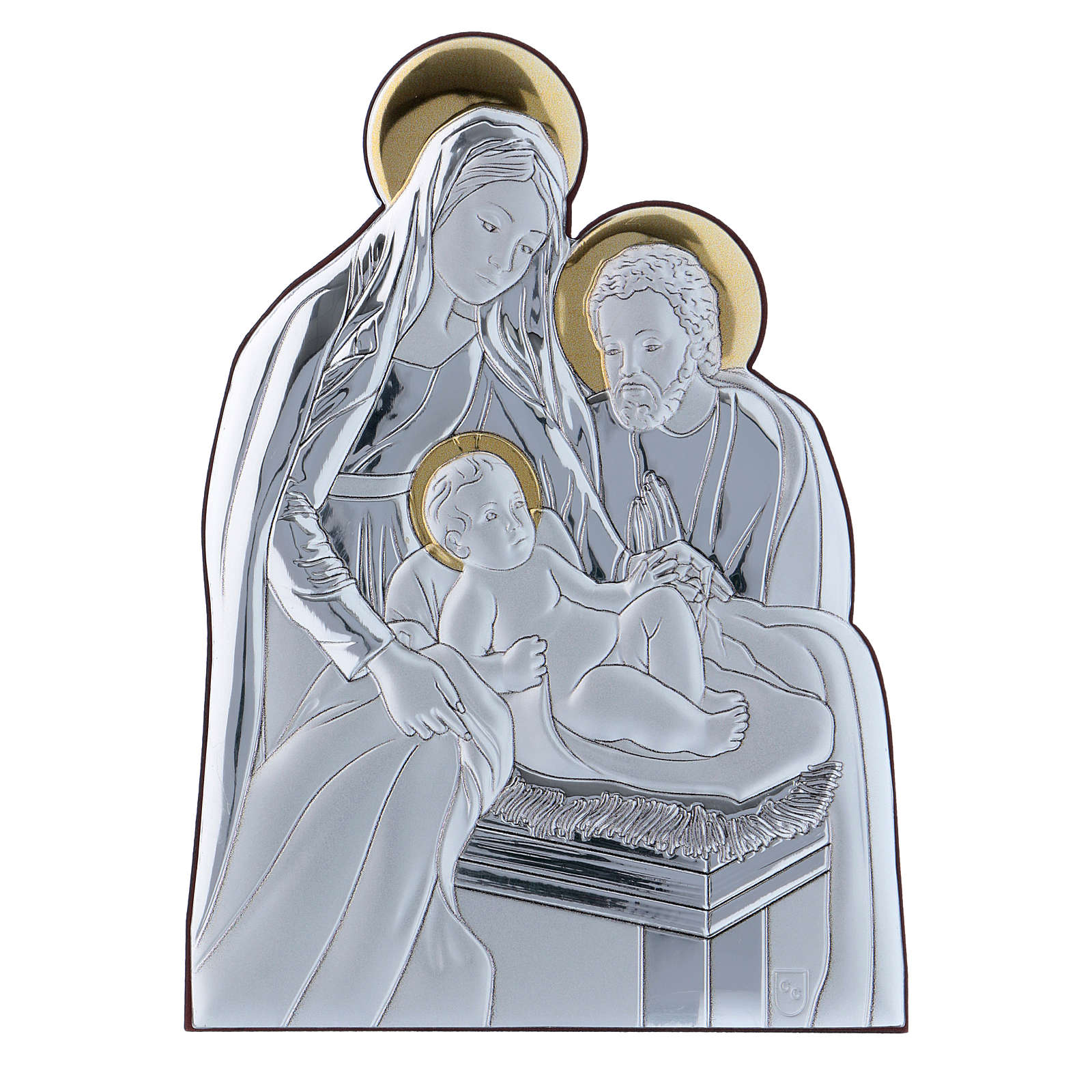 Holy Family painting in aluminium 14X10 cm 4