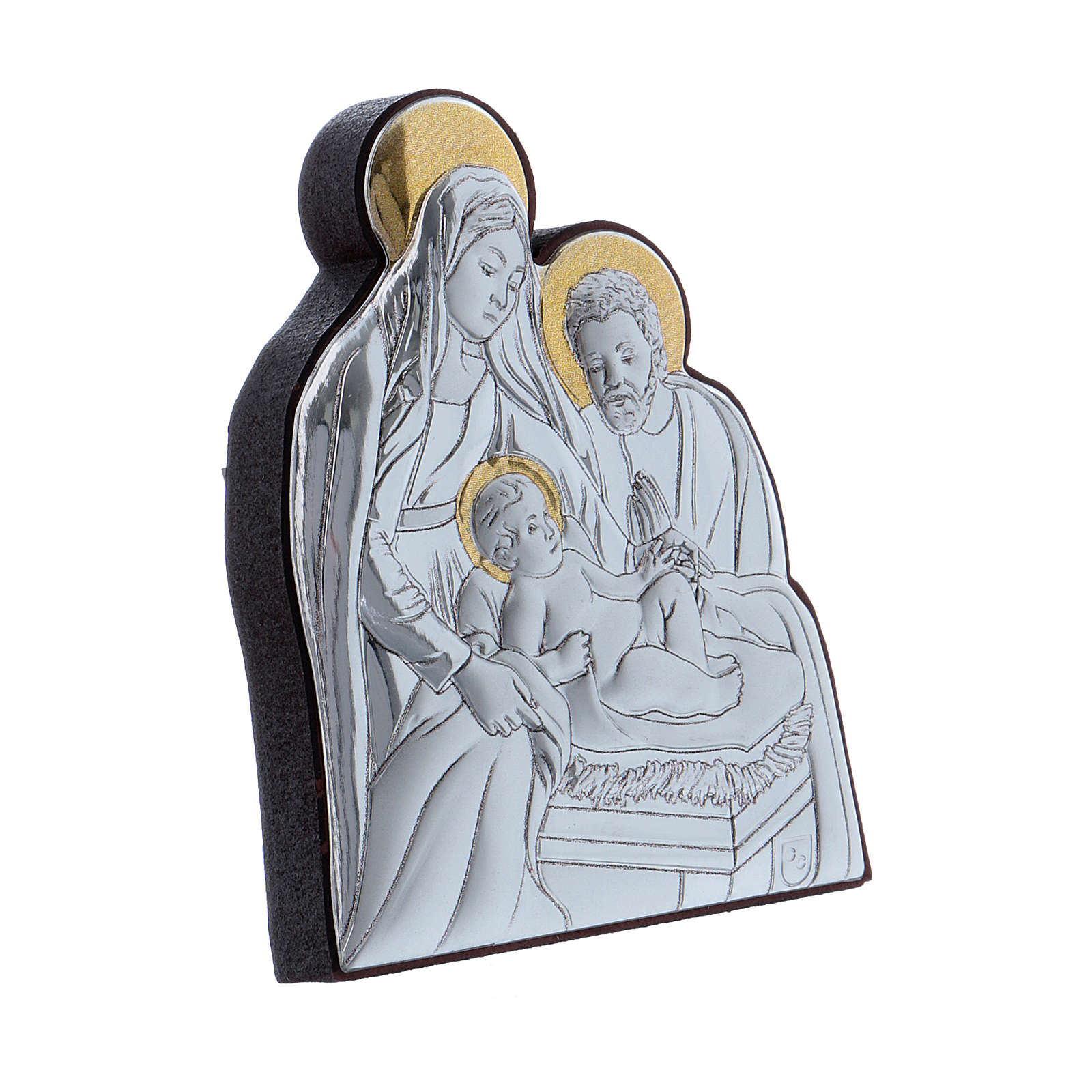 Holy Family painting in aluminium finished in gold  6,4X4,8 cm 4
