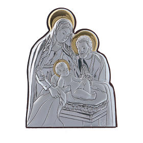 Holy Family painting in aluminium finished in gold  6,4X4,8 cm s1