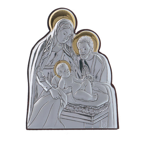 Holy Family painting in aluminium finished in gold  6,4X4,8 cm 1