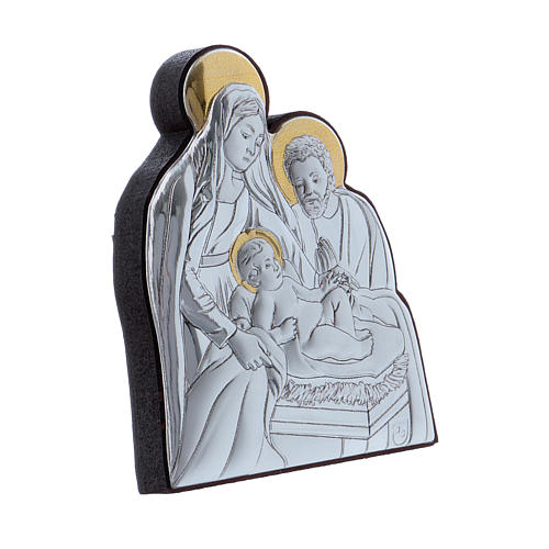 Holy Family painting in aluminium finished in gold  6,4X4,8 cm 2