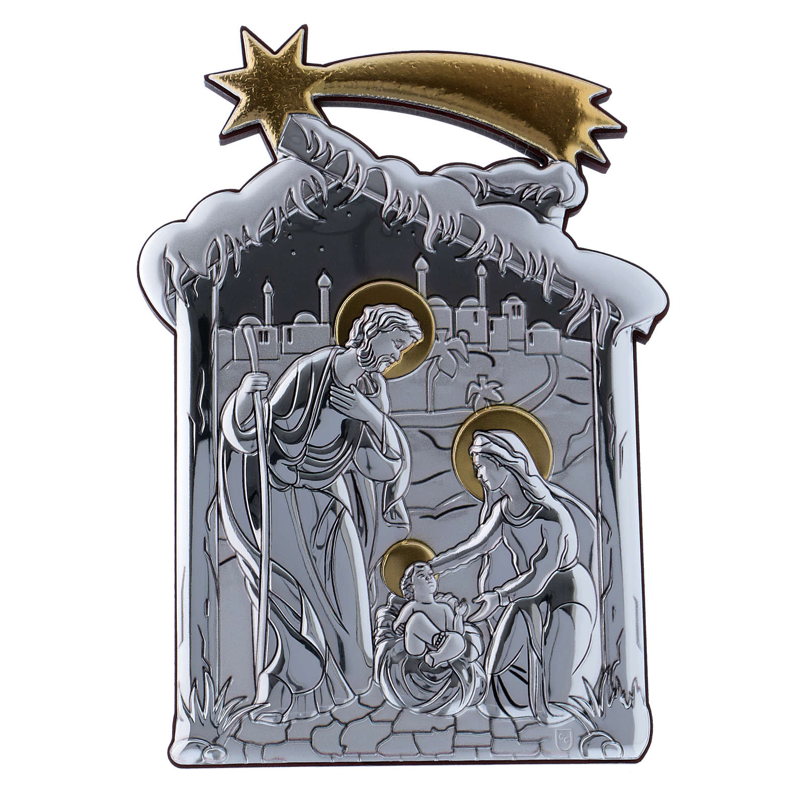 Holy Family and hut painting in aluminium 21,6X16,3 cm 4