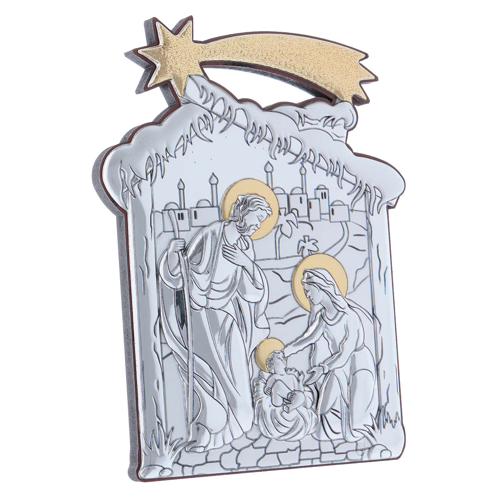 Holy Family and hut painting in aluminium with wooden back 14X10 cm 4