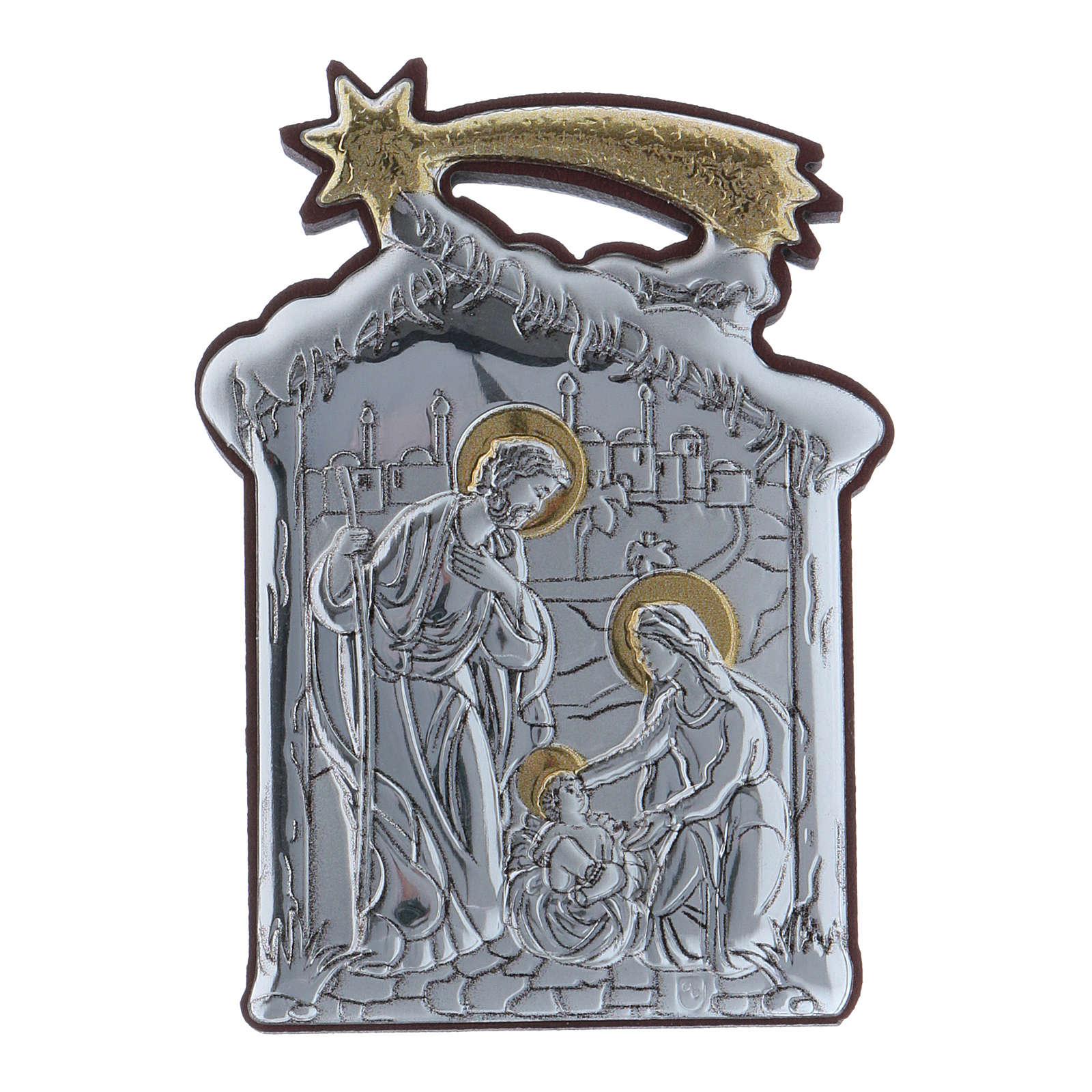 Quadro Sacra Famiglia con capanna e stella in alluminio 6,4X4,8 cm 4