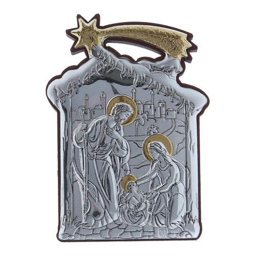 Quadro Sacra Famiglia con capanna e stella in alluminio 6,4X4,8 cm 1