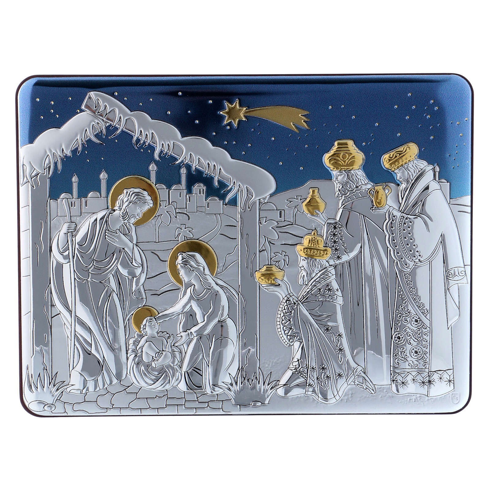 Holy Family and The Three Wise Men painting in aluminium with refined wooden back 16,3X21,6 cm 4