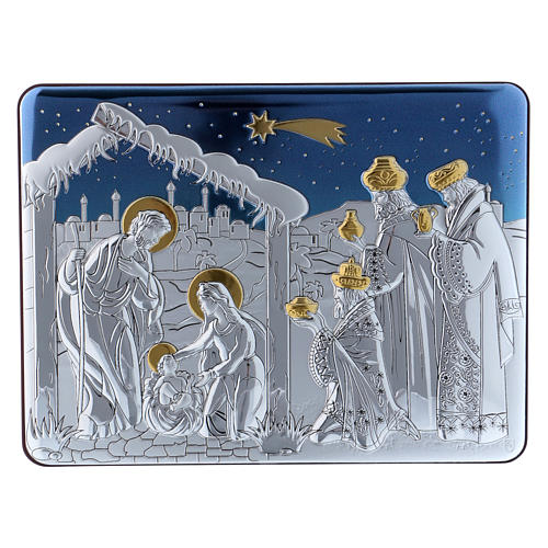 Holy Family and The Three Wise Men painting in aluminium with refined wooden back 16,3X21,6 cm 1