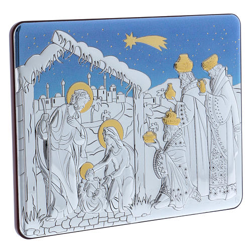 Holy Family and The Three Wise Men painting in aluminium with refined wooden back 16,3X21,6 cm 2