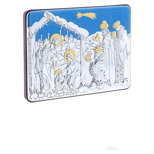 Quadro Natività con Magi in alluminio e legno pregiato 10X14 cm 2