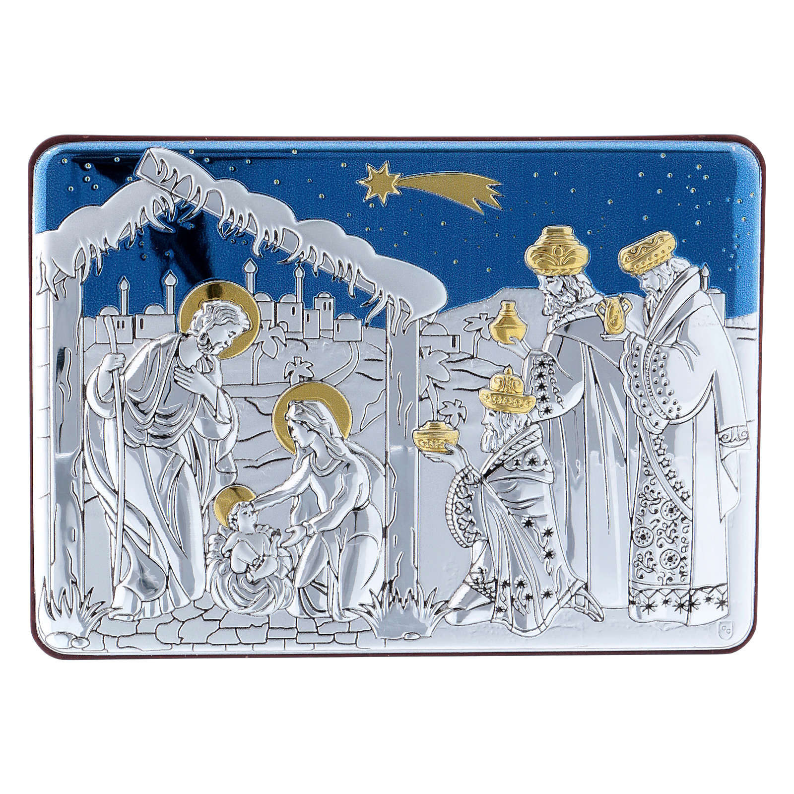 Holy Family and Three Wise Men painting in aluminium and refined wood 10X14 cm 4
