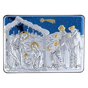 Holy Family and Three Wise Men painting in aluminium and refined wood 10X14 cm s1