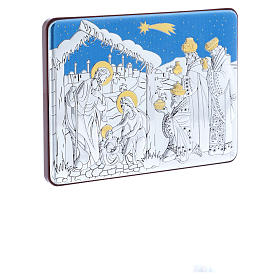 Holy Family and Three Wise Men painting in aluminium and refined wood 10X14 cm s2