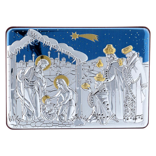 Holy Family and Three Wise Men painting in aluminium and refined wood 10X14 cm 1