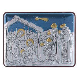 Quadro Natività con Magi in alluminio finiture oro 4,8X6,4 cm s1