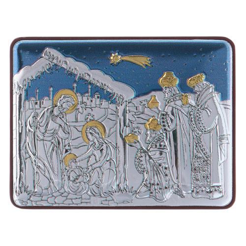 Quadro Natività con Magi in alluminio finiture oro 4,8X6,4 cm 1