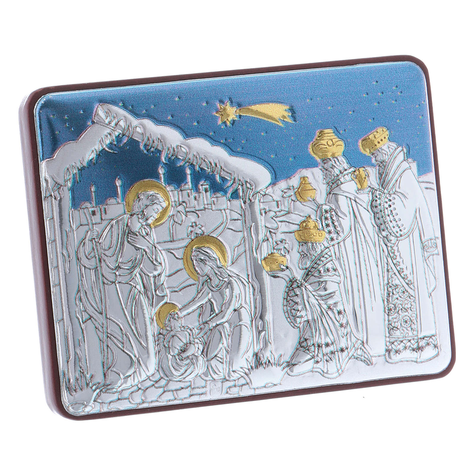 Holy Family and Three Wise Men painting in aluminium finished in gold 4,8X6,4 cm 4
