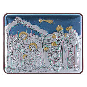 Holy Family and Three Wise Men painting in aluminium finished in gold 4,8X6,4 cm s1