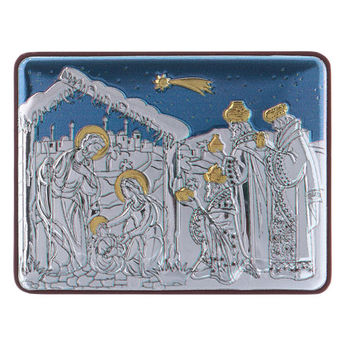 Holy Family and Three Wise Men painting in aluminium finished in gold 4,8X6,4 cm 1