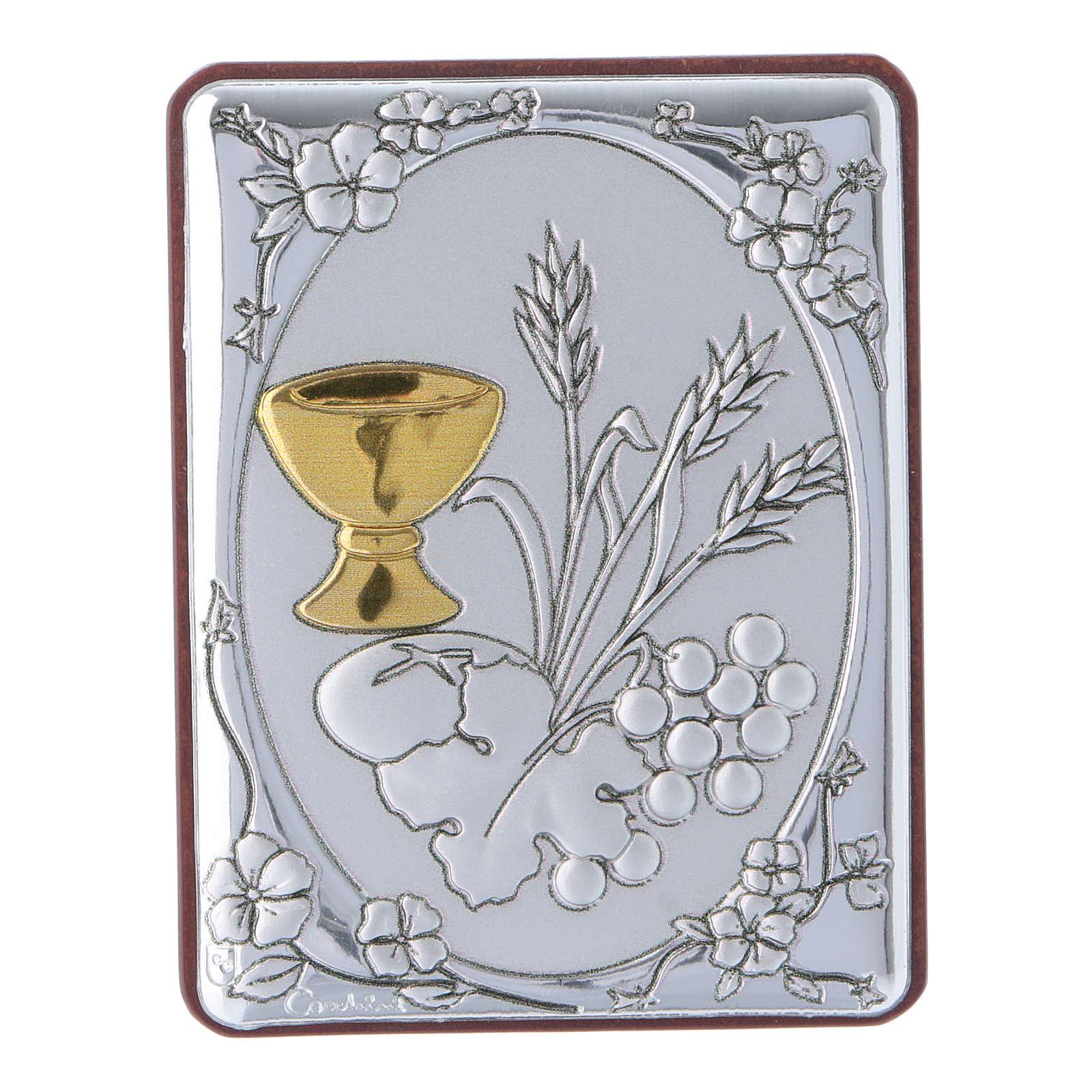 Quadro spiga grano calice uva in alluminio retro legno e rosario perle in vetro 4