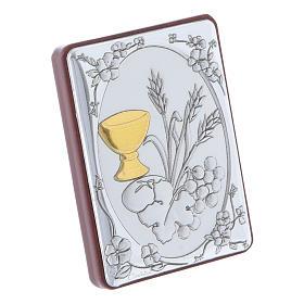Quadro spiga grano calice uva in alluminio retro legno e rosario perle in vetro s2